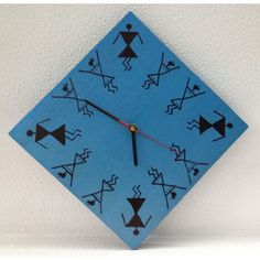 """This beautiful Blue & Black warli wall clock (8"""" x 8"""") on wood will change the look of your home / office décor - $11"""