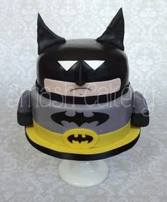 "Fondant batman cake- we call him ""squatty batman"". :)"