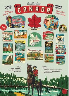 Explore the wonderful places to go and things to see from Canada with this wrapping paper. Printed on Cavallini's signature Italian archival paper. Perfect for wrapping, framing as posters and other creative endeavors. Images from the Cavallini & Co. New Travel, Canada Travel, Posters Canada, Canada Tattoo, Canada Holiday, Paper Place, Hanging Posters, Affordable Wall Art, Scrap
