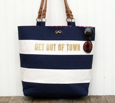 DIY Easy Sew Kate Spade Nautical Tote Knockoff Tutorial! ....minus the lettering, I am not a fan.