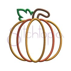 Leafy Pumpkin Applique - 7 Sizes! | Featured Products | Machine Embroidery Designs | SWAKembroidery.com