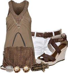 A fashion look from March 2013 featuring brown top, hot shorts and wedge sandals. Browse and shop related looks. Women's Summer Fashion, Love Fashion, Autumn Fashion, Ladies Fashion, Fashion Ideas, Casual Outfits, Cute Outfits, Fashion Outfits, Fashion Shorts
