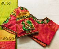 Elegant Kundhan and thread embroidery stands out against the delicate and playful pink. Get this Kanchi Silk saree today by contacting 96773 Best Blouse Designs, Simple Blouse Designs, Silk Saree Blouse Designs, Bridal Blouse Designs, Aari Embroidery, Embroidery Designs, Kanjivaram Sarees Silk, Kurti Sleeves Design, Kids Frocks