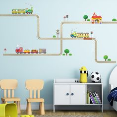 Amazon.com: Decowall, DW-1504,Trains and Tracks Wall Stickers,Vinyl,decal,mural,tattoos,Children: Home & Kitchen