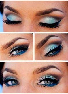 Idea en maquillaje de ojos en tonos azul y celeste