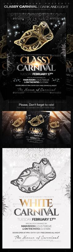 Classy Carnival or Masquerade Ball Flyers