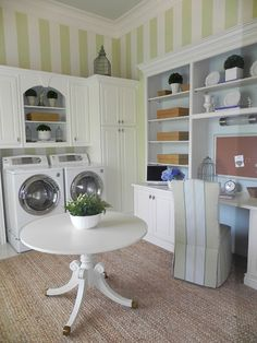 minus the green stripes, i could live in this laundry room