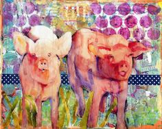 Watercolor Painting - Mixed Media Art Pig Art Animal Art Collage Art With Watercolor Little Piggies by Miriam Schulman