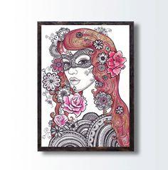 Floral Decorative Original Drawing Girl Portrait, Roses Flower Mandala Woman illustration Art, Tattoo Design Girl Drawing, Mixed Media Art