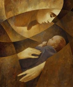 Any image with a woman's face and a child next to it will invoke the Mother archetype. The atavistic emotions are apparent even in abstracted images.