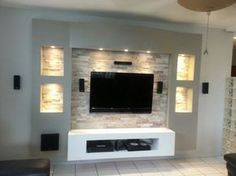 Chic and Modern TV wall mount ideas. - Since many people including your family enjoy watching TV, you need to consider the best place to install it. Here are 15 best TV wall mount ideas for any place including your living room. Tv Wall Design, Tv Unit Design, Tv Wanddekor, Dressing Design, Plafond Design, Tv Wall Decor, Wall Tv, Tv Furniture, Living Room Tv