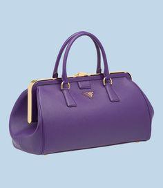 Purple Saffiano Calf Leather Handbag By Prada