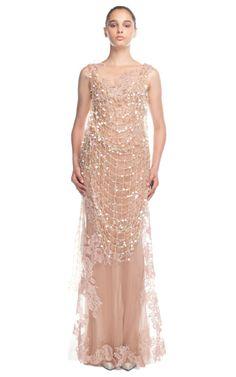 Alberta Ferretti Nude Crochet Overlay Evening Gown