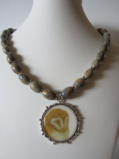 Owl Necklace with Landscape stones and antique pewter by yasmi65, $28.00