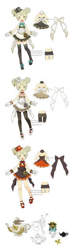 Costume & weapon designs of a restaurant theme for Dragon Nest academic in 2013. ^▽^ the other classes of this series &nbs...