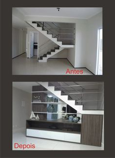 Space under stairs⚜️ Antes y después / Decor ideas. Interior Stairs, Interior Design Living Room, Living Room Designs, Basement Stairs, House Stairs, Space Under Stairs, Paint Colors For Living Room, Staircase Design, House Plans