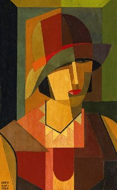 'Testa di Donna' (1920) by Argentinian painter Emilio Pettoruti (1892-1971). Oil on board, 61.5 x 38 cm. via Mid-centuria