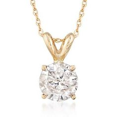"""Ross-Simons - 1.00 Carat Diamond Solitaire Necklace in 14kt Yellow Gold. 18"""" - #767012"""