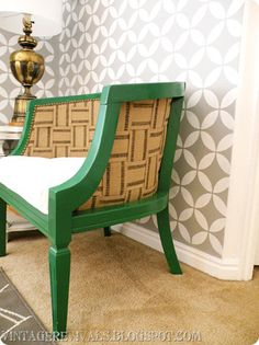 in LOVE with both of these patterns, and color of the chair. Fantastic.