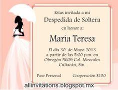 Invitación despedida de soltera, novia con paraguas