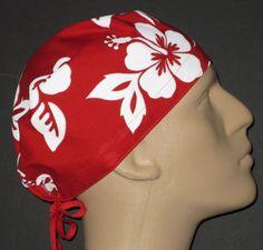 RED & WHITE  HAWAIIAN SCRUB HAT / FREE USA SHIPPING & CUSTOM SIZING #HOIHATSCUSTOMSIZEDSCRUBHATS