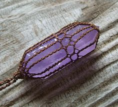Amethyst Pendant  Necklace  Double Terminated by TheTreeFolkHollow, $42.00