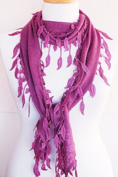 Lilac Cotton Scarf With Fringed Lace by mediterraneanlights, $17.90