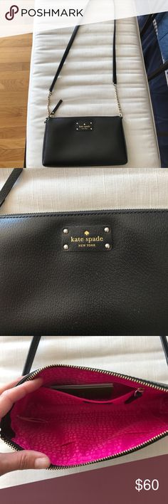 NWOT Kate Spade Cross Body Purse Black NWOT Authentic Kate Spade Cross Body Purse. Color: Black w/ Gold accents.  Never used. Comes w Dust Cover. kate spade Bags Crossbody Bags