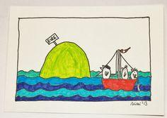 Die grüne Insel-  KCA15  - Federzeichnung von PiepShow auf DaWanda.com