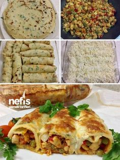 Gorgeous Flavor Chicken Vegetable Crepe (With Green Vegetable Crepe) - Delicious Recipes - How to make a fabulous flavor chicken vegetable crepe (with green vegetable crepe) recipe? Crepe Recipes, Pasta Recipes, Chicken Recipes, Breakfast Recipes, Snack Recipes, Cooking Recipes, Turkish Recipes, Italian Recipes, Recipes
