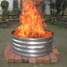 Easy Fire Pit, Fire Pit Grill, Round Fire Pit, Cool Fire Pits, Cheap Fire Pit Diy, Steel Fire Pit Ring, Fire Ring, Porches, Home Depot