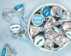 Candy Stickers with Blue Mustaches for Baby Boy Shower - Custom ideas for your candy buffet!