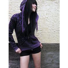 blackk hair and purple(: