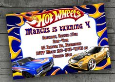 Hot Wheels Party Invitations Kids Birthday by PartyPrintableInvite