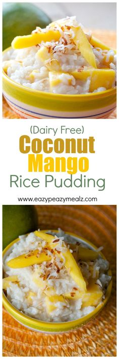 Coconut mango rice pudding that is dairy free and totally delicious! Pudding Recipes, Rice Recipes, Whole Food Recipes, Dessert Recipes, Cooking Recipes, Pudding Desserts, Pudding Corn, Suet Pudding, Biscuit Pudding