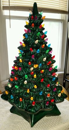 vintage ceramic lighted christmas tree 20 with multi colored bulbs