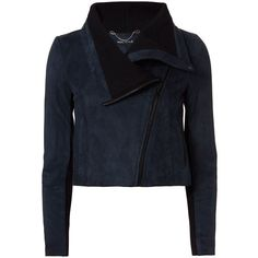 Yigal Azrouel Women's Cropped Suede Jacket ($2,190) ❤ liked on Polyvore featuring outerwear, jackets, blue jackets, long sleeve crop jacket, lined jacket, yigal azrouel jacket and suede jacket