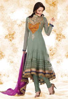 Light Grey Net Anarkali Churidar Kameez Online Shopping: KHA38A