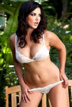24ec8f3bb Sunny Leone Hot Sexy Navel Show in White Bra and Panties
