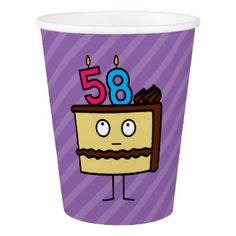 58th Birthday Cake With Candles Paper Cup