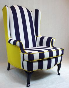 SOLD Blue and White Striped Wing Back Chair with by Element20