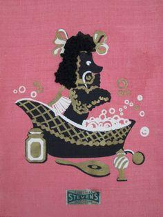 Pink Poodle Bubble Bath Vintage Linen Towel Mid Century 3D Gold Black Rose Tag | eBay