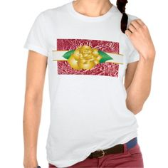Beautiful shirt for women with a design composed of illustration of a yellow rose on a beige ribbon gold trim on a background texture of red paper crumpled very marked on its surface. Customizable.