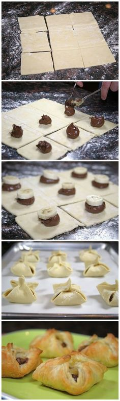 Nutella and Banana Pastry Purses. These are so easy to make and only take a few minutes. 1 sheet frozen puff pastry dough Nutella 1 banana some Just Desserts, Delicious Desserts, Dessert Recipes, Yummy Food, Snacks Recipes, Yummy Treats, Sweet Treats, Puff Pastry Dough, Nutella Puff Pastry