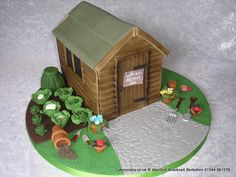 Garden Shed Cake. Garden shed novelty cake. The cake has been decorated with paraphernalia usually found around the garden shed or allotment. In ideal cake for lovers of gardening or as a retirement celebration Fab Cakes, Girly Cakes, Just Cakes, Garden Theme Cake, Garden Cakes, Cake Icing, Cupcake Cakes, Cupcakes, Allotment Cake