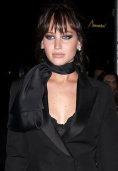 Jennifer Lawrence in a black pantsuit