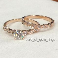 Round Moissanite Engagement Ring Sets Pave Diamond Wedding 14K Rose Gold 5mm Art Deco Antique - Lord of Gem Rings - 1