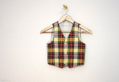 Little gentleman plaid vest / ring bearer outfit / baby boy dress up / infant tartan vest / stage photo prop / gift ideas for kids by Nastiin