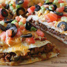 Mexican Pizza. The 7 layer dip was yummy because it reminded me of a mexican pizza from Taco Bell! I'm so excited for this!