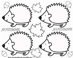 hedgehog coloring page/template Fall Arts And Crafts, Autumn Crafts, Autumn Art, Autumn Activities, Craft Activities, Colouring Pages, Coloring Books, Diy For Kids, Crafts For Kids